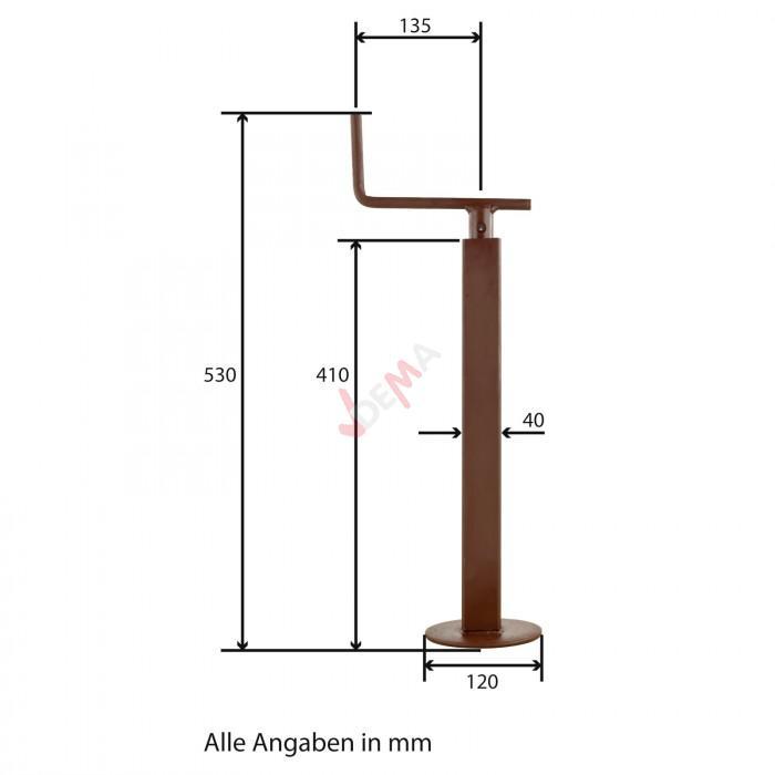 Béquille carrée pour remorque 40x40 mm - Charge 250 kg / levée 175 mm