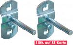Crochet droit pour panneau perforé en set de 2 pièces