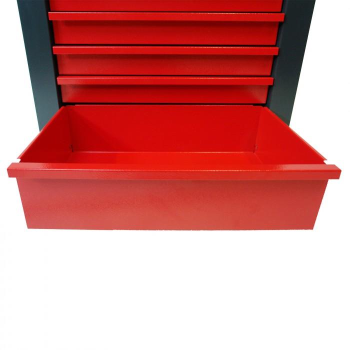 Servante d'atelier rouge et noir, dotée de 6 tiroirs.