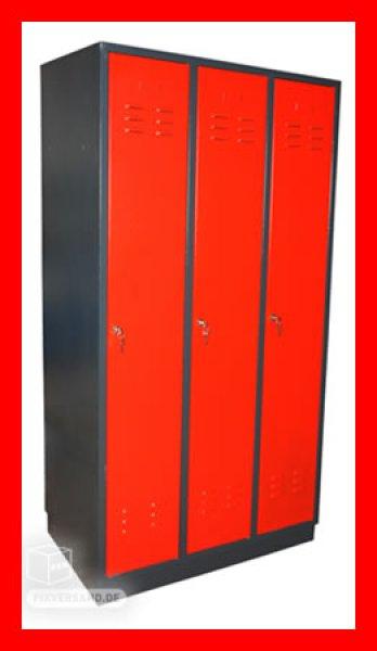 Armoire 3 vestiaires - 3 portes - rouge et noire