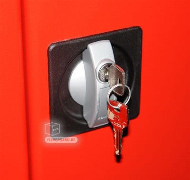 Armoire produits d'entretien ou vestiaire - rouge et noire