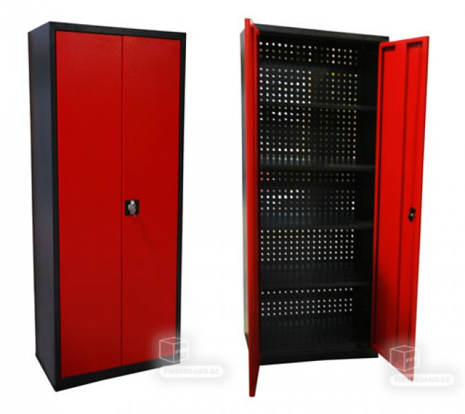 armoire de rangement arri re perfor rouge et noire. Black Bedroom Furniture Sets. Home Design Ideas