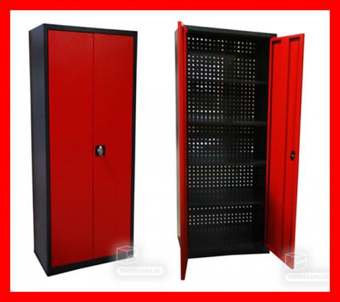 Armoire de rangement  - arrière perforé - rouge et noire