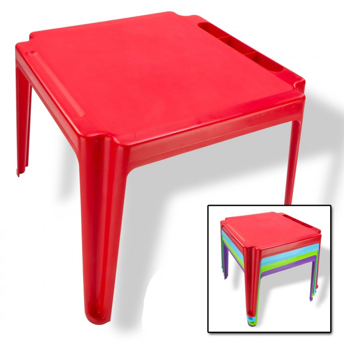 Table pour enfants en pvc rouge plein air camping for Table enfant rouge