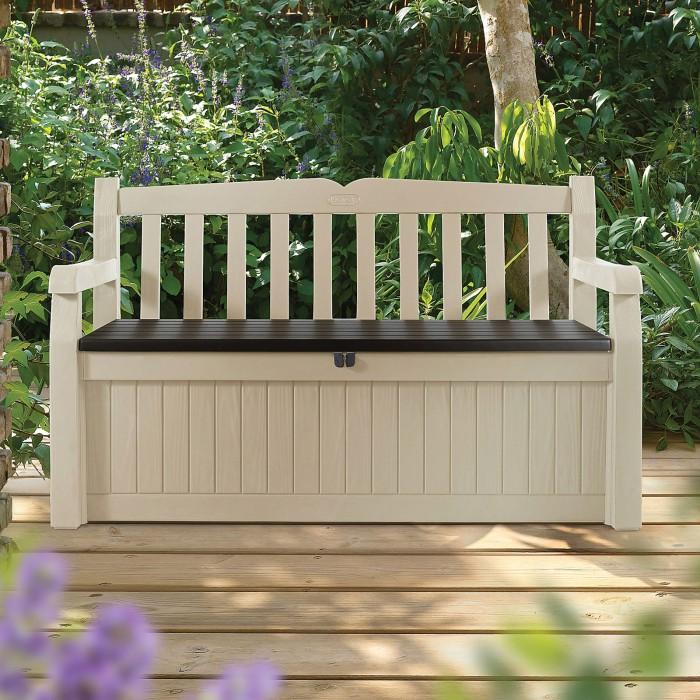 """Banc de jardin avec coffre de rangement """"Eden"""" couleur beige brun"""