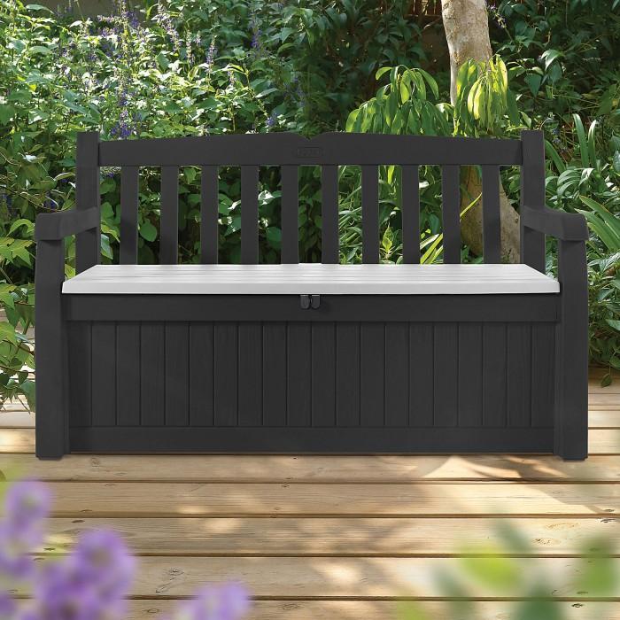 Banc de jardin avec coffre de rangement eden couleur anthracite gris