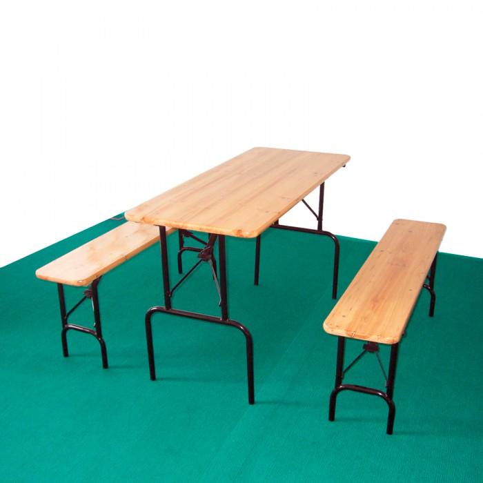 Table et bancs de brasserie - ensemble jardin 3 pièces 120 x 50 cm