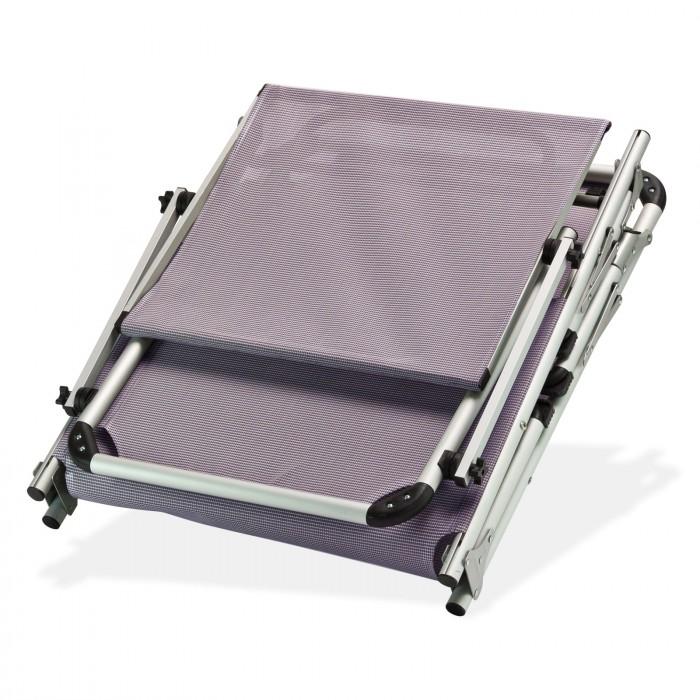 Chaise longue transat avec pare soleil gris mauve for Pare soleil chaise longue