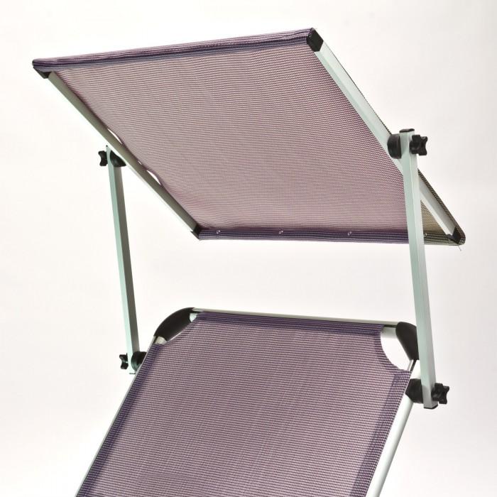 Chaise longue transat avec pare soleil gris mauve for Chaise longue avec pare soleil