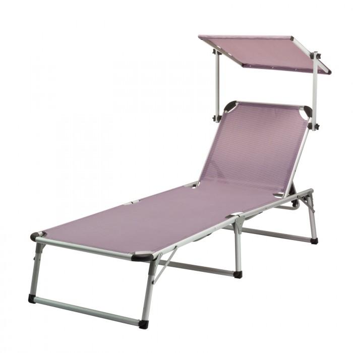 Chaise longue transat avec pare soleil gris mauve for Chaises longues avec pare soleil