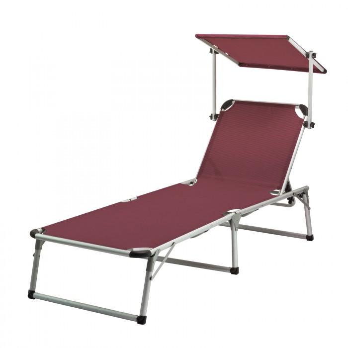 """Chaise longue transat avec pare-soleil bordeaux """"Colorado Springs"""""""