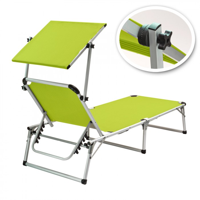 Chaise longue transat avec pare soleil vert anis colorado for Chaises longues avec pare soleil