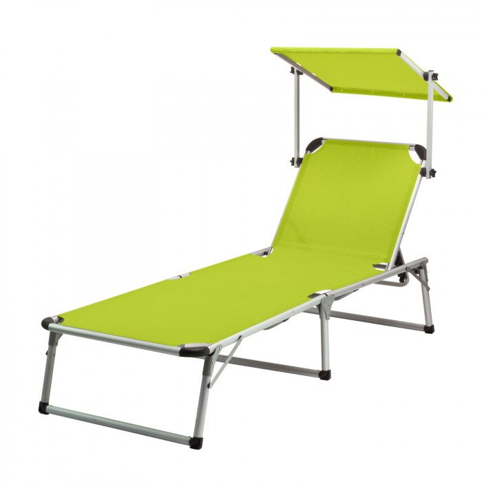 chaise longue transat avec pare soleil vert anis colorado springs plein air camping. Black Bedroom Furniture Sets. Home Design Ideas