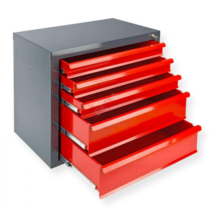 """Armoire servante """"Fernando"""" 5 tiroirs - Rouge"""