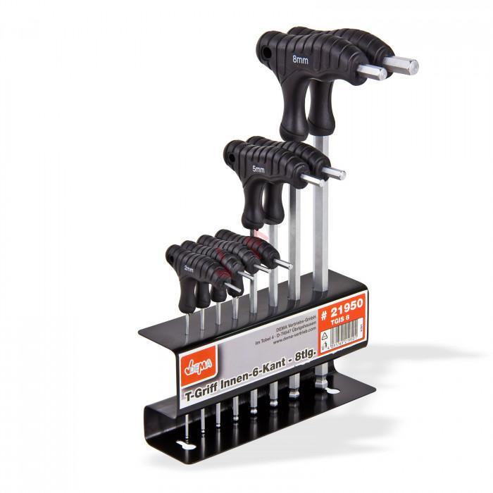 Clés 6 pans mâles poignées en T support métal outillage - 8 pièces