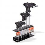 Pack 8 pc clés 6 pans mâles poignées en T support métal outillage -
