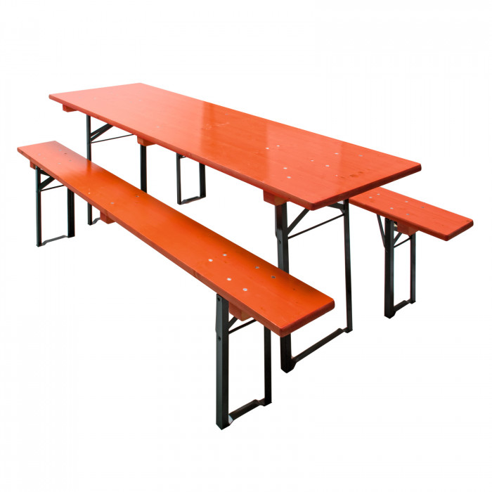 Table Et Bancs De Brasserie Orange Ensemble 3 Pièces 220 X 70 Cm