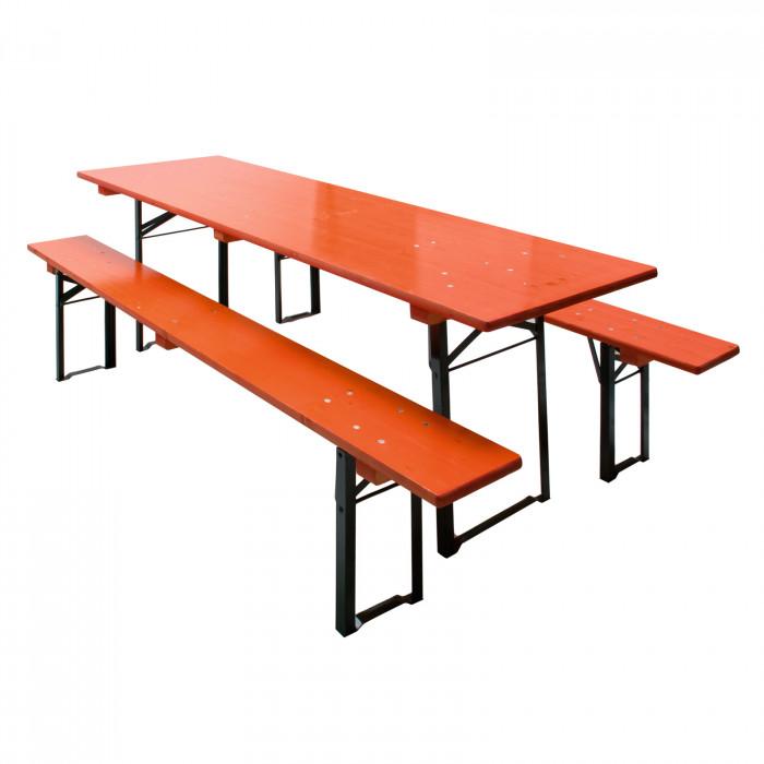 Table et bancs de brasserie Orange - Ensemble 3 pièces 220 x 70 cm