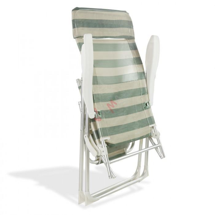 """Chaise longue pliante """"Sunnyvale"""" - Rayé pétrole-crème"""