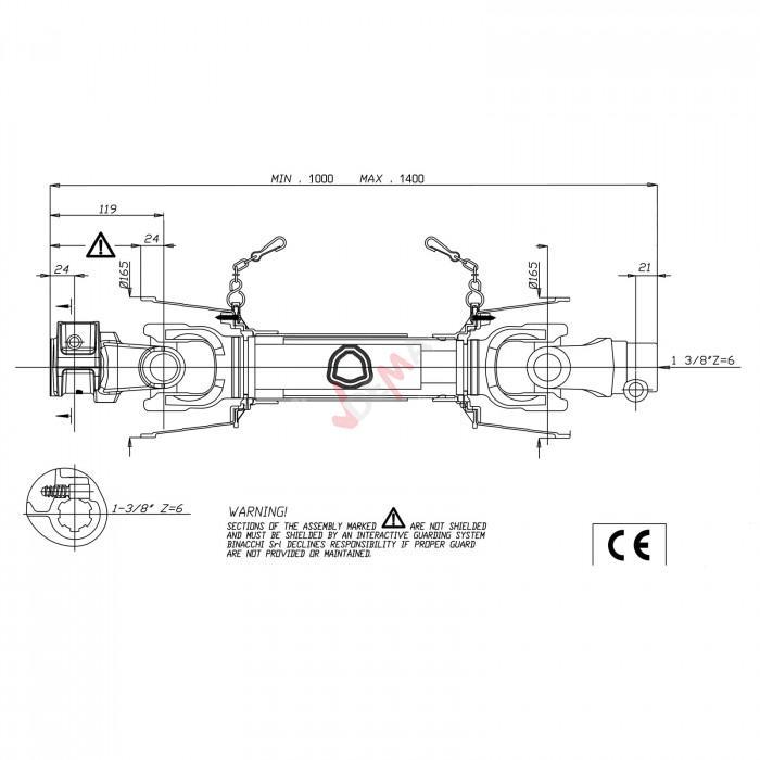 Cardan 1000 - 1400 mm pour D67961