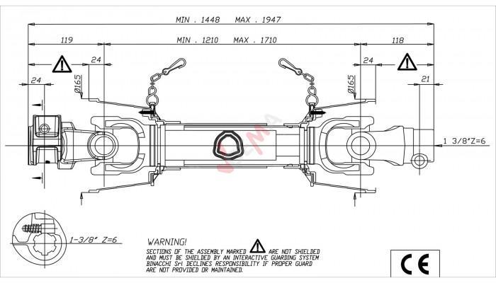 Cardan B06 1450 - 1950 mm