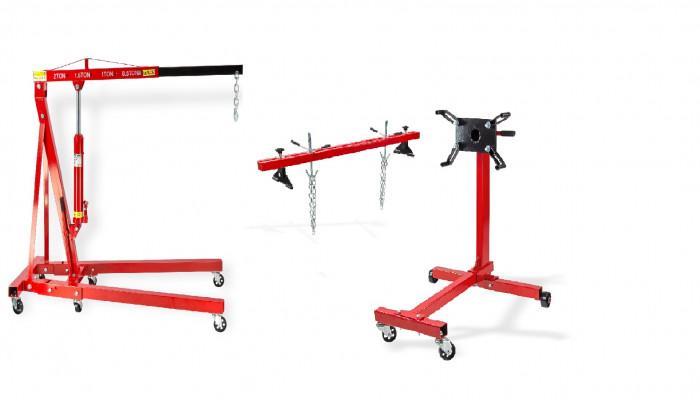 Pack - Grue atelier 2 T + Traverse 500 kg + Support moteur 450 kg