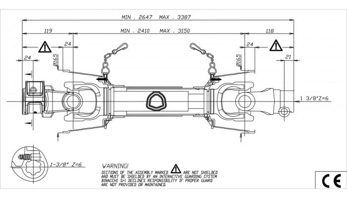 Cardan B06 2600 - 2650 - 3390 mm pour broyeur D67822