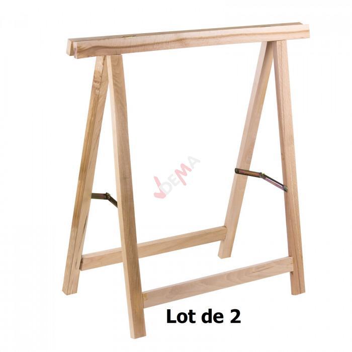 Pack - Tréteaux en bois - Lot de 2