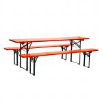 Table + bancs de brasserie 2200 x 500 mm - orange