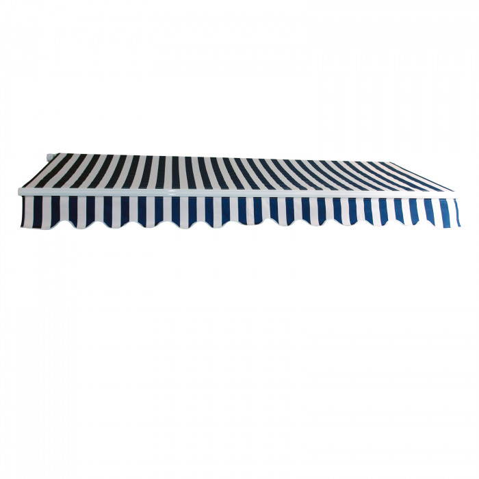 Store banne alu - Marquise extérieure - Toile 3 x 2,5 m - Bleu / Blanc