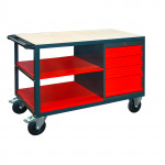 Etabli mobile 4 tiroirs - 2 étagères - 1280 x 600 x 850 mm