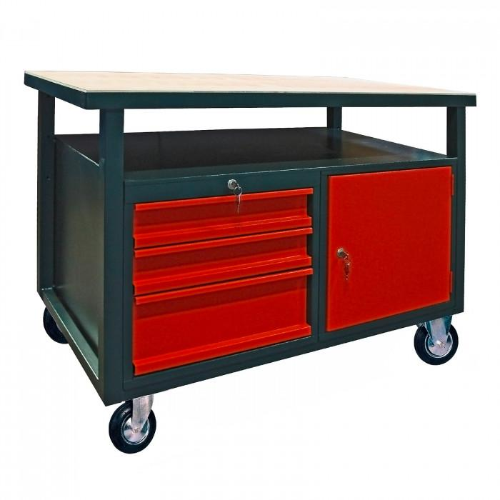 Etabli mobile 3 tiroirs - 1 porte - 1200 x 600 mm