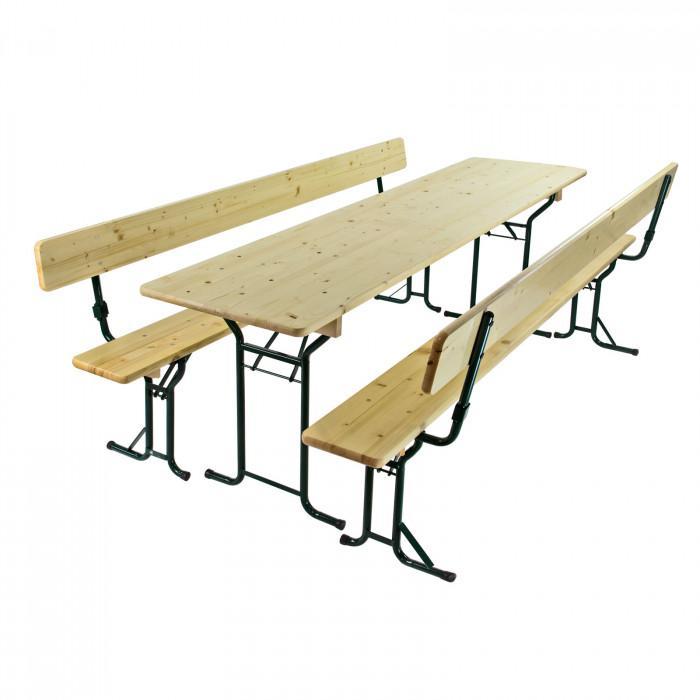 Table et bancs de brasserie - Ensemble de jardin 3 pces 220 x 60 cm
