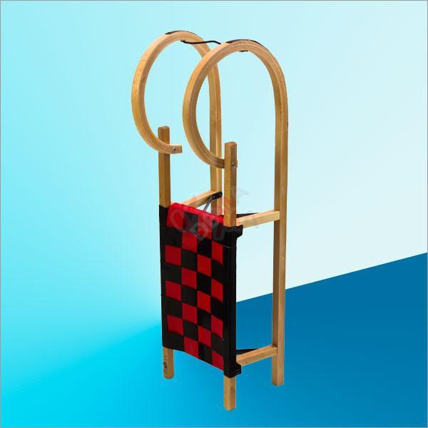 Luge à cornes en bois tradition  avec siège en textile tressé - 110 cm