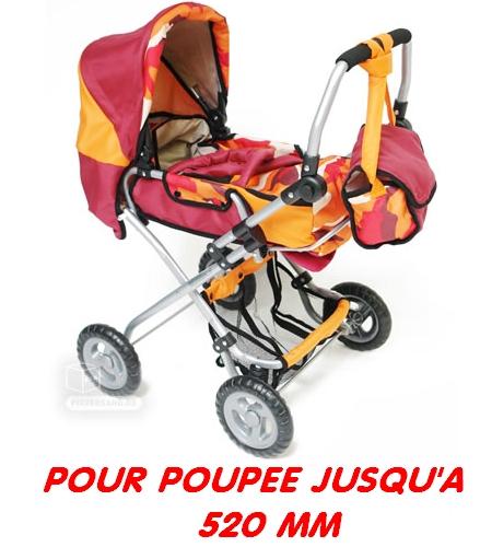 Combi poussette et sac épaule pour poupée jusqu'à 520 mm