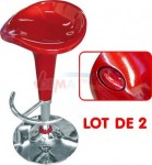 "Tabouret de bar ""DESIGN"" rouge - pivotant 360°- Lot de 2"