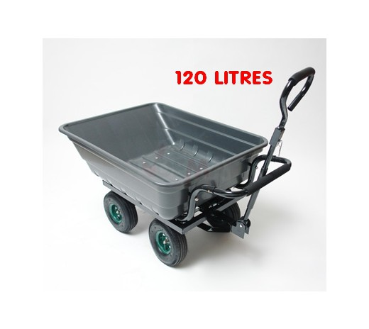 Remorque benne basculante - Chariot de jardin 120 litres - Plein Air ...