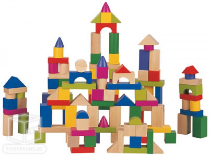 Blocs de constructions en bois - 120 pièces