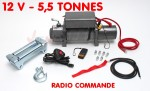 Treuil radio commandé - 12 V -5,5 T - 4 KW