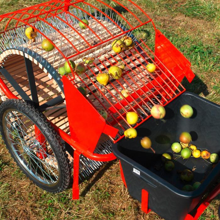 Ramasseuse manuelle à pousser fruit - pommes - bac de récolte 40 L