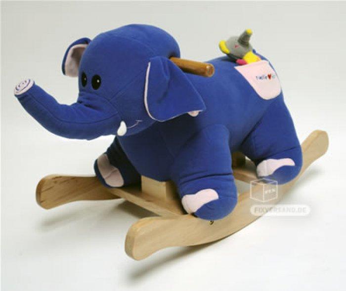 Cheval à bascule Nelly l'éléphante avec son bébé tout doux