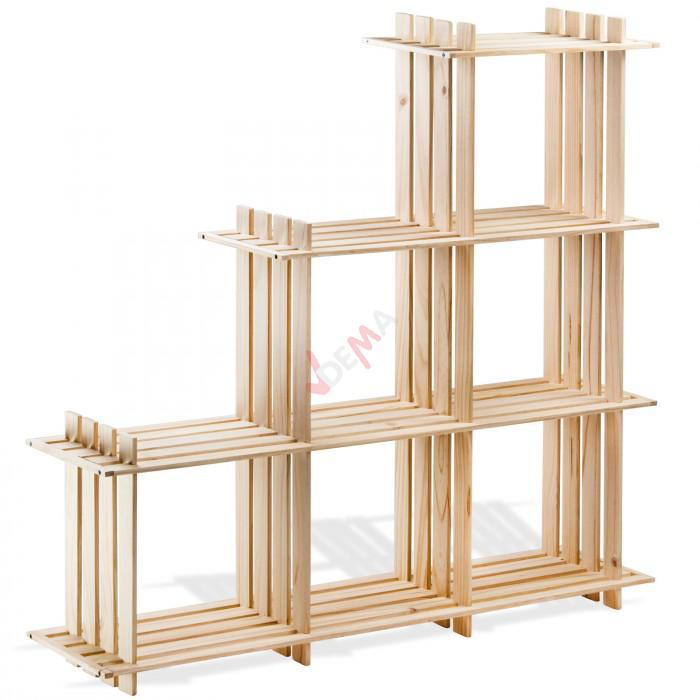 etag re en bois 6 rangements pin massif rangement. Black Bedroom Furniture Sets. Home Design Ideas