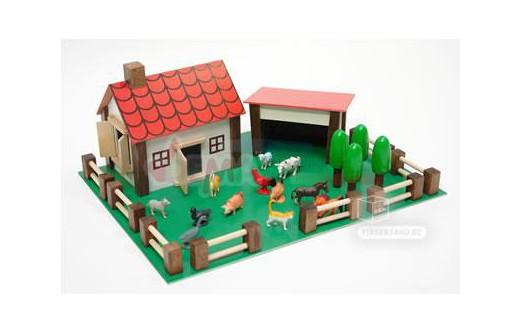 petite ferme en bois et plastique avec ses 12 animaux jouets en bois. Black Bedroom Furniture Sets. Home Design Ideas