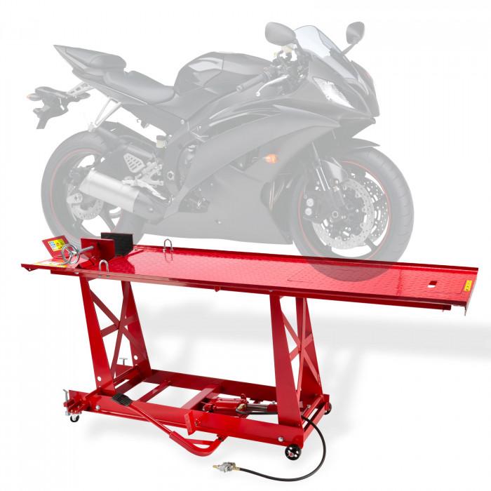 Pont élévateur moto longueur 2770 mm avec rampe - 450 kg pneumatique