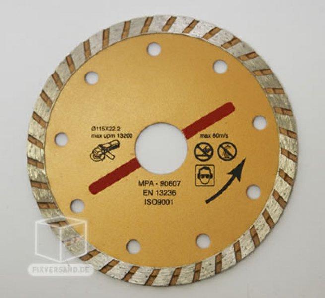 Disque diamant Ø 115 mm - 24 PC - coupe sèche ou à l'eau