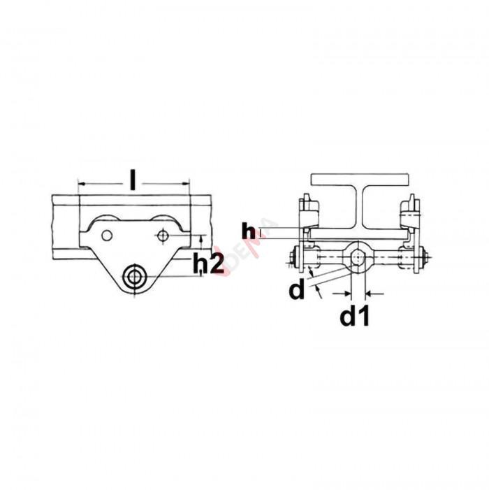 Chariot à palan 1 T - bride réglable 60 à 230 mm