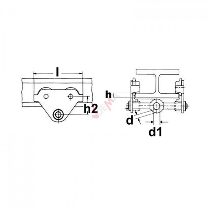 Chariot à palan 2 T - bride réglable 70 à 230 mm